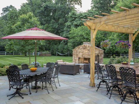 Bluestone patio, fireplace, pergola