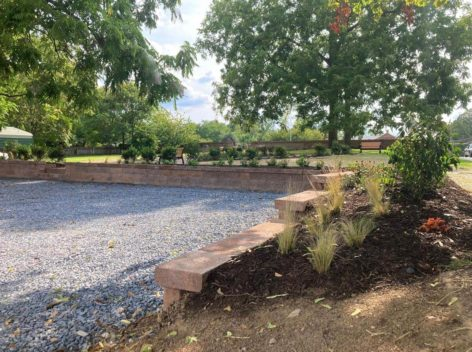 Retaining walls, plantings, benches